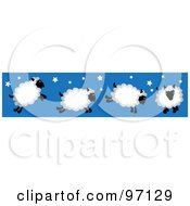Royalty Free RF Clipart Illustration Of A Border Of Four Jumping Sheep With Stars