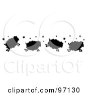 Royalty Free RF Clipart Illustration Of A Border Of Four Silhouetted Jumping Sheep With Stars