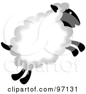 Royalty Free RF Clipart Illustration Of A Fluffy Jumping Sheep With Thick Wool