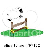 Royalty Free RF Clipart Illustration Of A Fluffy Sheep Leaping Over A Fence
