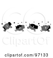 Royalty Free RF Clipart Illustration Of A Border Of Four Numbered Silhouetted Jumping Sheep With Stars