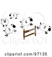 Royalty Free RF Clipart Illustration Of Four Numbered Sheep Leaping Over A Fence