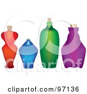 Royalty Free RF Clipart Illustration Of A Row Of Colorful Frosted Glass Bottles With Corks