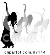 Royalty Free RF Clipart Illustration Of A Silhouetted Woman Dancing With Shadows Behind Her