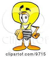 Clipart Picture Of A Light Bulb Mascot Cartoon Character Pointing At The Viewer