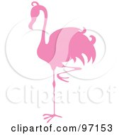 Royalty Free RF Clipart Illustration Of A Pink Flamingo Bird Balanced On One Leg Silhouette by Pams Clipart
