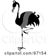 Royalty Free RF Clipart Illustration Of A Black Silhouette Of A Flamingo Bird Balanced On One Leg
