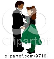 Royalty Free RF Clipart Illustration Of A Hispanic Boy And Caucasian Girl Dancing Together