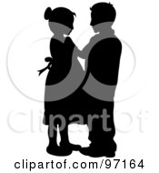 Royalty Free RF Clipart Illustration Of A Silhouette Of A Boy And Girl Dancing Together