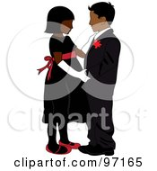 Royalty Free RF Clipart Illustration Of A Black Girl And Indian Boy In Formal Wear Dancing Together