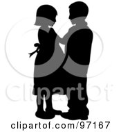 Royalty Free RF Clipart Illustration Of A Silhouetted Boy And Girl Dancing Together