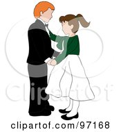 Royalty Free RF Clipart Illustration Of An Irish Boy And Caucasian Girl Dancing Together