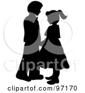 Royalty Free RF Clipart Illustration Of A Black And White Silhouetted Boy And Girl Dancing