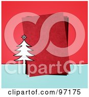 Royalty Free RF Clipart Illustration Of A Christmas Tree By A Piece Of Red Paper Over Red