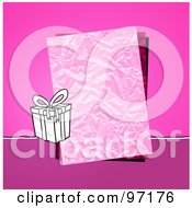 Royalty Free RF Clipart Illustration Of A Gift Box By A Crinkled Piece Of Paper Over Pink by NL shop