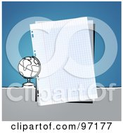 Royalty Free RF Clipart Illustration Of A Globe By A Piece Of Graph Paper Over Blue