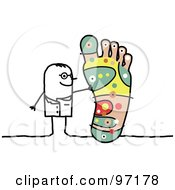 Royalty Free RF Clipart Illustration Of A Stick People Podiatrist Discussing Reflexology Of The Foot