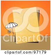 Beach Umbrella By A Piece Of Paper Over Orange