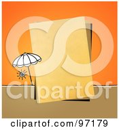 Royalty Free RF Clipart Illustration Of A Beach Umbrella By A Piece Of Paper Over Orange by NL shop