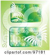 Two Green Summer Time Text Boxes With White Butterflies And Spirals Over Green
