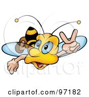 Royalty Free RF Clipart Illustration Of A Bumble Bee Flying Forward And Gesturing With His Hand by dero