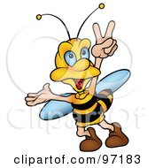 Royalty Free RF Clipart Illustration Of A Bumble Bee Walking And Gesturing With His Hand