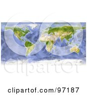 Royalty Free RF Clipart Illustration Of A Water Color Styled World Map
