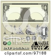 Royalty Free RF Clipart Illustration Of A Digital Collage Of Dollar Bill Bank Note Design Elements