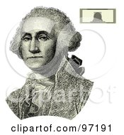 Royalty Free RF Clipart Illustration Of An Engraved Styled George Washing Portrait From A Banknote With The Banknote In The Upper Right Corner by BestVector