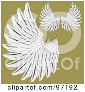 Royalty Free RF Clipart Illustration Of A Digital Collage Of Detailed White Feathered Wings by BestVector