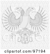 Royalty Free RF Clipart Illustration Of A Twin Eagle Crest With A Shield And Feathery Wings On A Patterned Background by BestVector