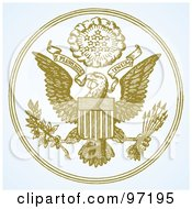 Royalty Free RF Clipart Illustration Of A Bald Eagle Crest With A Shield Branch Arrows Banners And Burst In A Circle