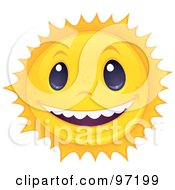 Royalty Free RF Clipart Illustration Of A Friendly Sun Face Smiling And Showing White Teeth by John Schwegel