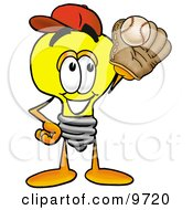 Clipart Picture Of A Light Bulb Mascot Cartoon Character Catching A Baseball With A Glove