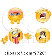 Royalty Free RF Clipart Illustration Of A Digital Collage Of Pissed Crying Goofy And Terrified Emoticon Faces by yayayoyo