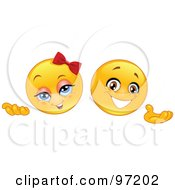 Royalty Free RF Clipart Illustration Of Male And Female Emoticon Faces Presenting With Their Hands by yayayoyo