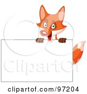 Royalty Free RF Clipart Illustration Of A Happy Fox Looking Over A Blank Sign by yayayoyo