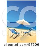 Pair Of Blue Beach Chairs Under An Umbrella At The Waters Edge On A Beach