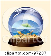 Royalty Free RF Clipart Illustration Of A Pair Of Beach Chairs And Umbrella On A Tropical Beach In A Snow Globe by Eugene