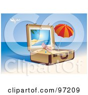 Royalty Free RF Clipart Illustration Of A Beach Chair And Umbrella In A Suitcase Of Sand On A Tropical Beach by Eugene #COLLC97209-0054