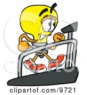 Clipart Picture Of A Light Bulb Mascot Cartoon Character Walking On A Treadmill In A Fitness Gym