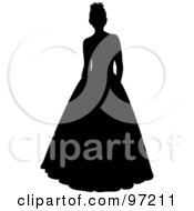 Royalty Free RF Clipart Illustration Of A Black Silhouetted Bride Or Debutante Standing In A Formal Dress by Pams Clipart