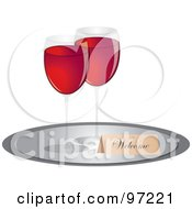 Royalty Free RF Clipart Illustration Of A Welcome Tag And Two Glasses Of Red Wine On A Tray