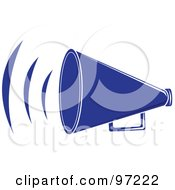 Royalty Free RF Clipart Illustration Of A Loud Blue Megaphone With Sound Waves