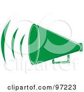 Royalty Free RF Clipart Illustration Of A Loud Green Megaphone With Sound Waves