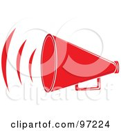 Royalty Free RF Clipart Illustration Of A Loud Red Megaphone With Sound Waves by Pams Clipart