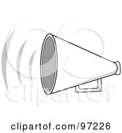 Royalty Free RF Clipart Illustration Of A Loud White Megaphone With Sound Waves by Pams Clipart
