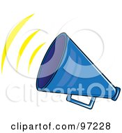 Royalty Free RF Clipart Illustration Of A Noisy Blue Megaphone With Sound Waves by Pams Clipart