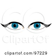 Royalty Free RF Clipart Illustration Of A Piercing Pair Of Blue Eyes With Eyeliner