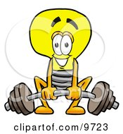 Clipart Picture Of A Light Bulb Mascot Cartoon Character Lifting A Heavy Barbell